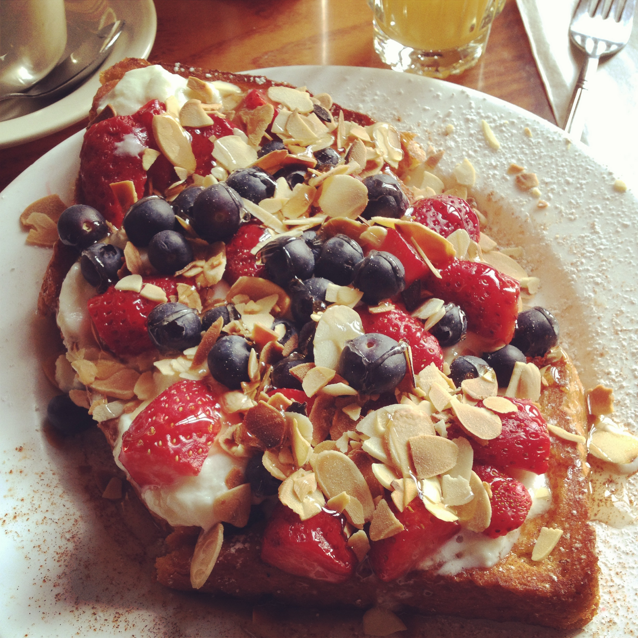 Berry good waffle (substituted for french toast) - Bus Stop Cafe, West Village