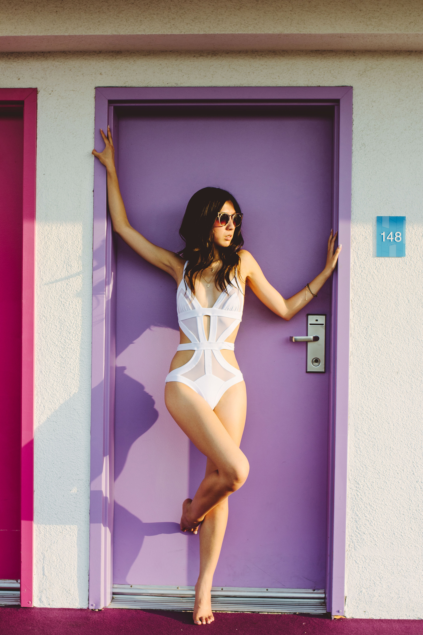 Diana Huntley - Champagne Twilight - Palm Springs - Kopper And Zink White One Piece